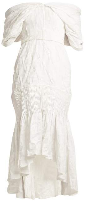 Jonathan Simkhai Smocked Off Shoulder Dress - Womens - White