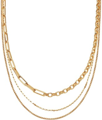 Missoma Gold Deconstructed Axiom & Box Link Chain Necklace Set