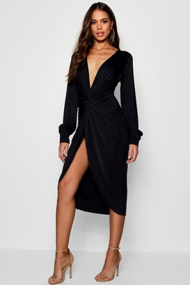 boohoo Tall Olivia Wrap Front Slinky Midi Dress