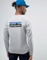 Patagonia Lightweight Sweatshirt P-6 Back Logo Slim Fit In Grey Marl