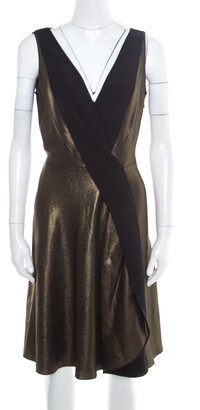 Temperley London Matte Gold Edom Lame V Neck Sleeveless Dress L