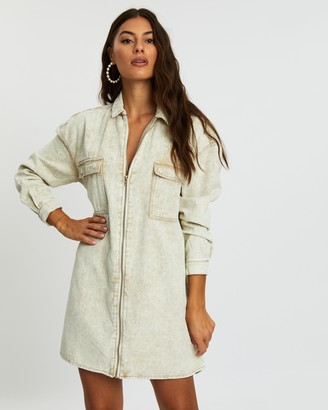 Missguided Denim Utility Shirt Dress