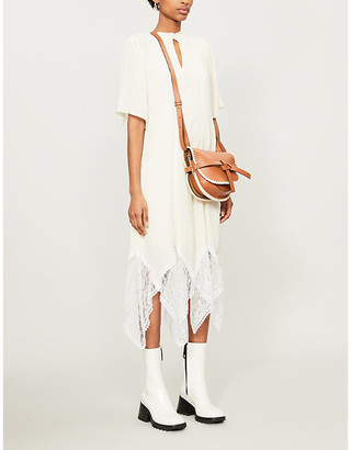 See by Chloe Sheer floral-lace crepe midi dress