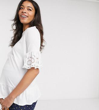 New Look Maternity broderie sleeve peplum tee in white