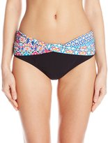 Christina Women's Casablanca Semi High Waist Bikini Bottom with Printed Waistband