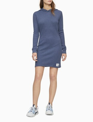 Calvin Klein Solid Waffle-Knit Monogram Logo Patch Hoodie Dress