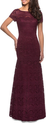 La Femme Floral Lace Short-Sleeve Gown