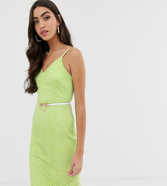 Paper Dolls Tall cami strap lace dress with belt in lime