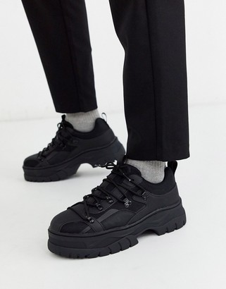 Asos Design DESIGN trainers in black with rubber panels and chunky sole