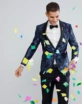 Moss Bros Skinny Blazer In Party Camo