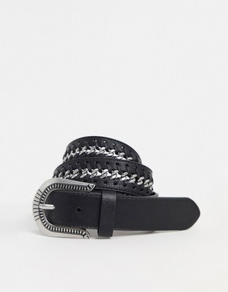 Topshop western belt with silver buckle in black