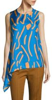 Diane von Furstenberg Asymmetrical Draped Silk Top