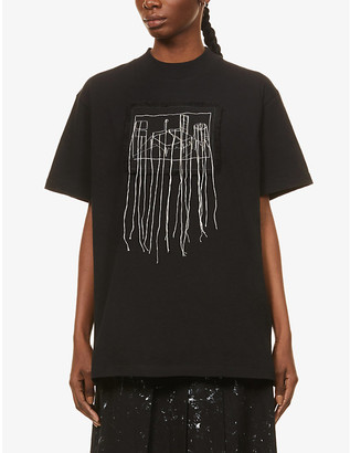 Song For The Mute Room embroidered cotton-jersey T-shirt