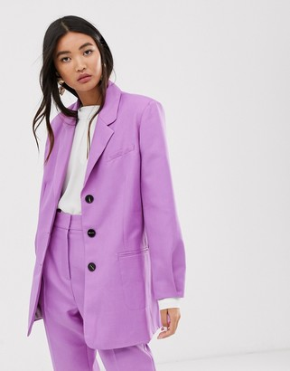 Asos DESIGN oversized dad suit blazer in lilac
