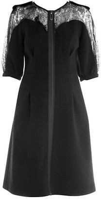 Fendi Lace Detail Zip-Up Crepe Dress