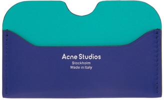 Acne Studios Blue Logo Card Holder