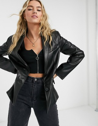 Bershka oversized faux leather blazer in black