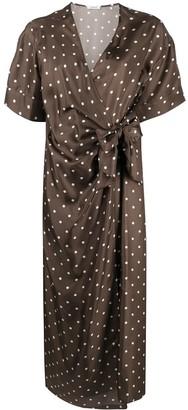 P.A.R.O.S.H. Silk Polka Dot Print Wrap Dress