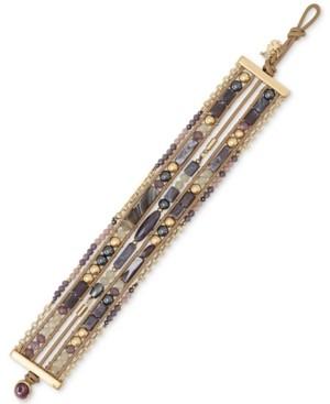 Lucky Brand Two-Tone Purple Beaded Leather Multi-Row Bracelet