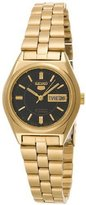 Seiko Women's SUAG30 5 Automatic Black Dial Gold-Tone Stainless-Steel Watch