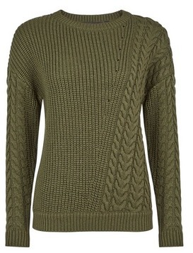 Dorothy Perkins Womens Breast Cancer Care Khaki Diagonal Cable Jumper, Khaki