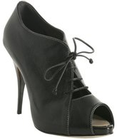 black leather lace-up peep toe booties