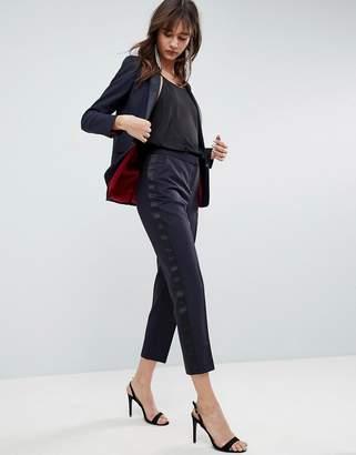 Asos Design Premium Slim Tux PANTS with Contrast Trim-Navy