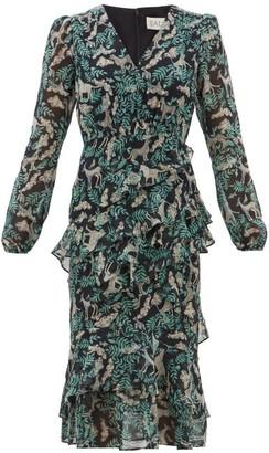 Saloni Alya Tiered Jungle-print Silk-georgette Dress - Womens - Black Multi