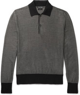 Tom Ford - Contrast-trimmed Knitted Silk And Wool-blend Polo Shirt
