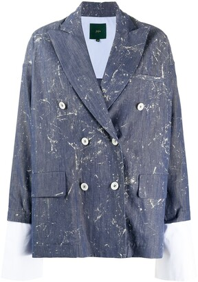 Jejia Marble-Print Double-Breasted Blazer