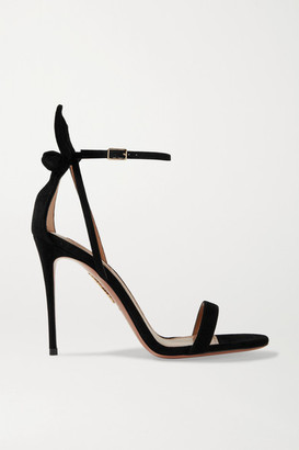 Aquazzura Deneuve 105 Bow-embellished Suede Sandals - Black