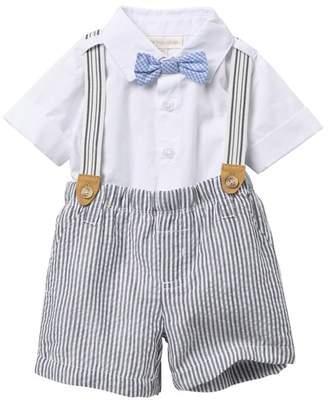 Miniclasix Top, Suspenders, & Seersucker Shorts 3-Piece Set (Baby Boys)