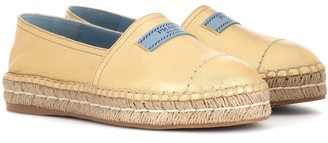 Prada Metallic leather espadrilles