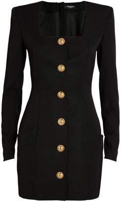 Balmain Wool Button-Detail Dress