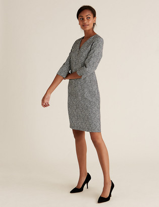 Marks and Spencer Crepe Animal Print V-Neck Shift Dress