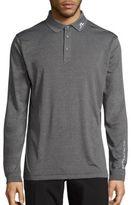 J. Lindeberg Heathered Long Sleeve Golf Polo Shirt