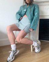 Thumbnail for your product : Weekday Jules co-ord mini skirt with splits in blue dogtooth
