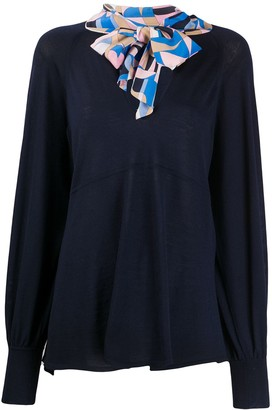Emilio Pucci Abstract Pussybow Jumper