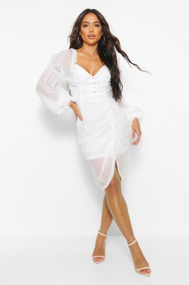 boohoo Hoook And Eye Sheer Volume Sleeve Midi Dress