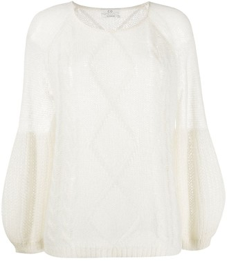 Co Balloon-Sleeved Cable Knit Sweater