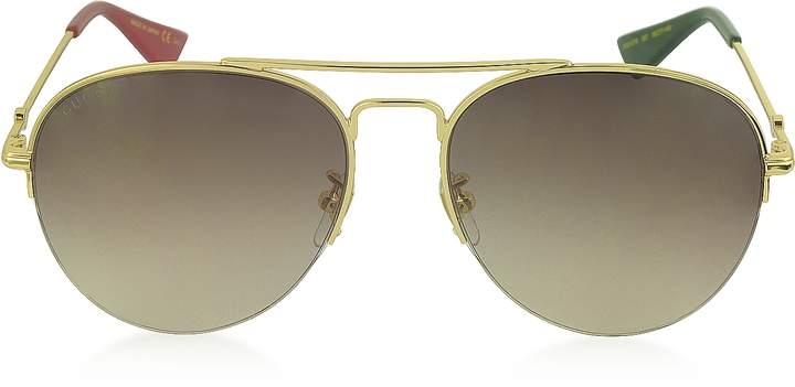 Gucci GG0107S Metal Aviator Men's Sunglasses