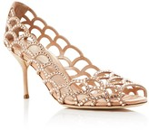 Sergio Rossi Vague Swarovski Crystal Cutout Peep Toe Pumps
