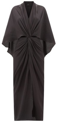 Thea - The Elektra Cape-back Silk Crepe De Chine Dress - Womens - Black