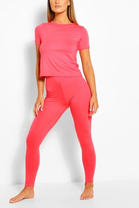 boohoo Basic T-shirt & Legging Soft Jersey PJ Set