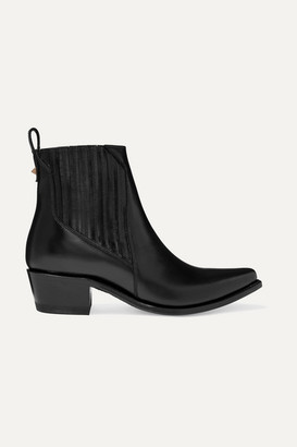 Valentino Garavani Ranch 40 Leather Ankle Boots - Black