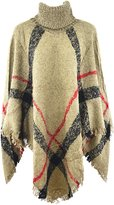 HY Women Plaid Batwing Knit Poncho Turtleneck Cape Sweater Cloak Pullover