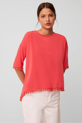 French Connection Crepe Light Pom Pom T-Shirt