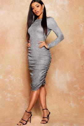 boohoo Glitter Low Back Ruched Midi Dress