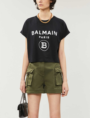 Balmain Logo-print cropped cotton-jersey T-shirt