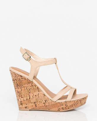 Le Château Faux Leather T-Strap Wedge Sandal